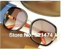 freeshipipng queen anti-uv sunglasses  women's  white polarized sunglasses Big box leopard black brown sunglasses
