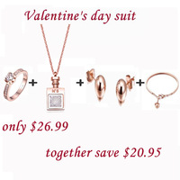 New arrival Valentine's day suit,18k ROSE GOLD set, necklace,earring,bracelet,ring 18k fashion jewelry set,Free shipping KS0-214