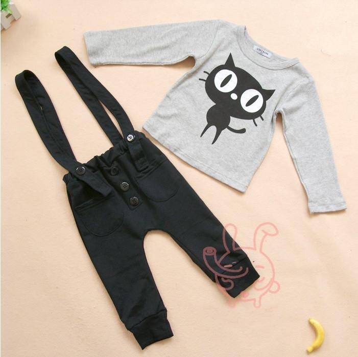 2014 Baby Bebe Boy Clothes Set Cat Tshirt+Suspender Overalls pant 100-140cm,Kids/Children Costume Outwear Bodysuits for Newborn(China (Mainland))