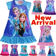 new 2014 summer frozen princess dress Retail girl print dress brand children casual fashion design POLYESTER kids clothes party(China (Mainland))