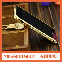 Crystal Rhinestone Aluminum Alloy Bumper Frame Back Cover Case For iPhone 5  Diamond Gold Slim Bling Protect Shell for iPhone 5s