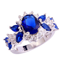 Wholesale Fashion Jewelry Oval Cut Sapphire Quartz & White Topaz 925 Silver Ring Size 6 7 8 9 10 For Unisex Rings Free Shipping