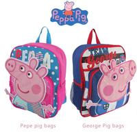 2014 new Peppa pig bag satchel school bag backpack for boys blue George pig cartoon assuming pig male child Preschool schoolbag