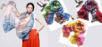 Silk Chiffon Long Scarf/105cm*175cm Long Shawls/100% Natural Silk/2014 New Fashion Desigual