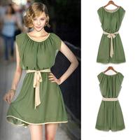 New 2014 Women Summer Dress Chiffon Elegant Charming Vestidos High Street Pleated Tunic Bandage Lining Casual Dress Mini Dress