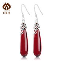 925 pure silver thai silver red zircon earring fashion red long drop design earrings 11