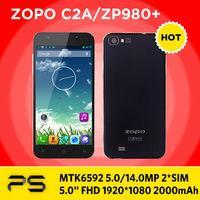 """5.0"""" ZOPO ZP980+ C2A MTK6592 5MP/14MP Retina 1920*1080 2000mAh Android 4.2 Octa Core Dual SIM smart phone ZOPO C2 ZP980"""
