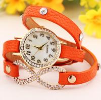 Retail 2014 New Hot Sales Rhinestone Strap Girls Women Leather Fashion Bracelet Dress Wrist Casual Watches,Quartz Gift Watch