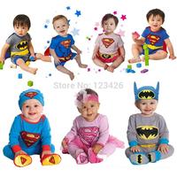2014 Hot Baby Boy Rompers Superman Batman Costume Infant Short Cotton Girls Clothing Fantasia Ou for Bebe Ropa Roupas Infantil