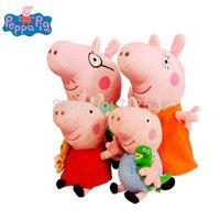 Baby peppa pig toys lot set family 30CM Daddy+30cm Mummy+19CM George+19CM Peppa Pig Stuffed Animals Plush Dolls drop shipping