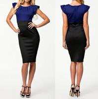 Office Dress 2014 New Vestidos OL Elegant Career Dress Women Work Wear Bodycon Midi Pencil Dress Summer Casual Dress 9075