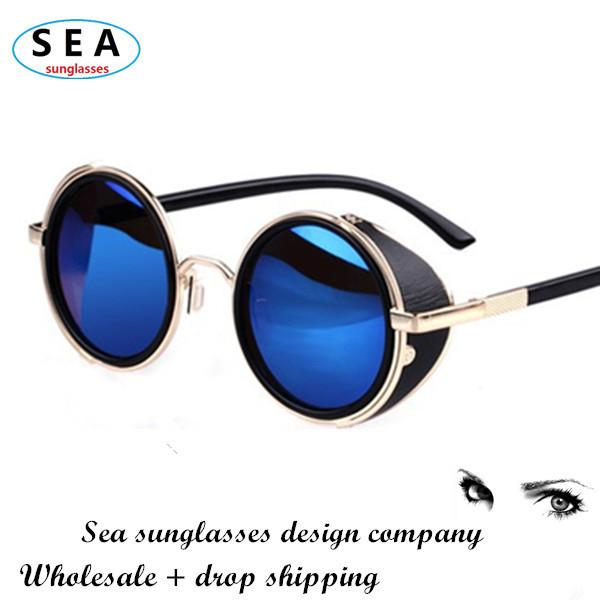 SEA STEAMPUNK Retro COATING mens vintage round SUNGLASSES Men women brand designer gafas OCULOS de sol feminino Sun GLASSES s004(China (Mainland))