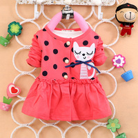 2014 Spring autumn New Baby Girls long-sleeve dress with jacket toddler girl sweet flower lace dress flower bowknot for 0-24M