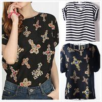 New Women Chiffon print loose blouse shirt lady fashion short sleeve shirt  free shipping hot selling