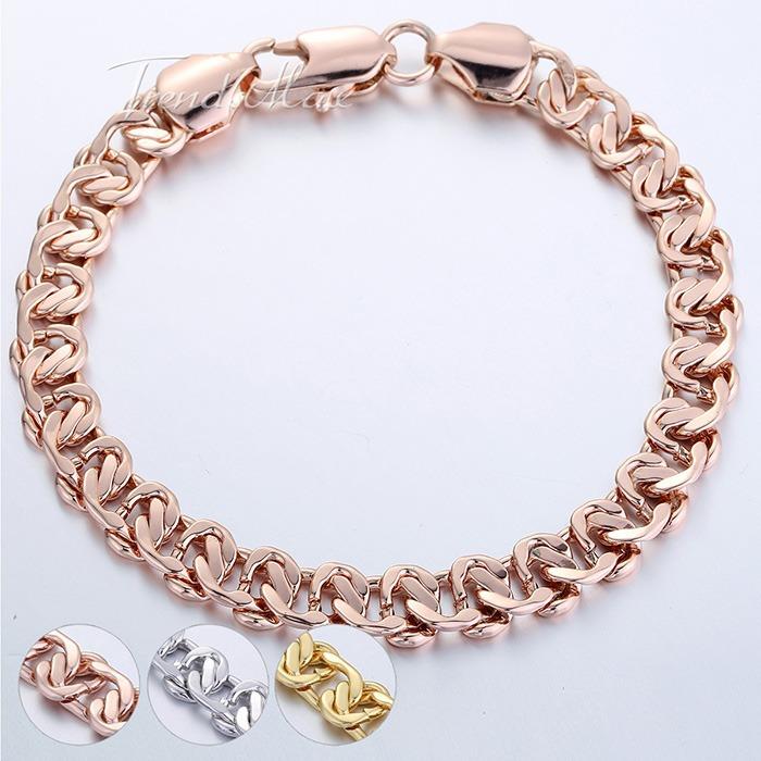 Customize size 8MM Boys MENS Bangle Curb Cuban Snail Bracelet 18K Rose Gold Filled Bracelet 18KGF Wholesale Jewelry Gift GB209(Hong Kong)