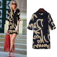 New Fashion 2015 Elegant Celebrity O-neck Half Sleeve Knee-length Printed Letter Loose Plus Size Casual Women Dresses