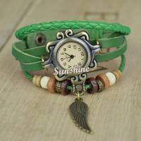 2014 New Fashion Vintage Weave Wrap Synthetic Leather Bracelet Quartz Dress Watch Women's Wrist Watch 5 Colors 20163