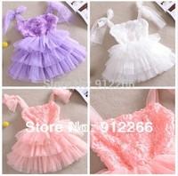 summer 2014  princess Rose suspenders fashion girls dress dresses  kid apparel ,13DEC437-LQ-1