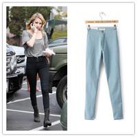 Women Vintage High Waist Jeans Pencil Stretch Denim Pants Female Slim Skinny Trousers Plus Size