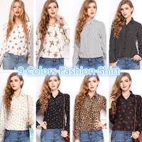 SZ011 White Black Long Sleeve Women's Blouses&Shirts Kiss Red Lip Print Casual Tops Loose Plus Size Lady Button leopard Blusas