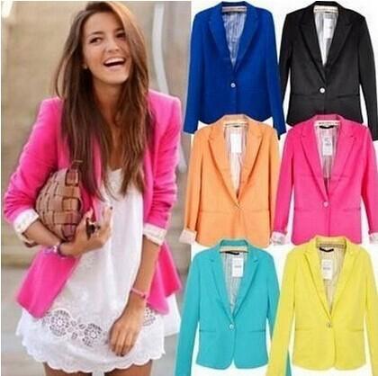 New Spring 2014 Tops ZA blazer women candy coat jacket Foldable outerwear coat jackets one button basic jacket suit blazers(China (Mainland))