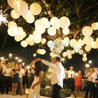 "Free shipping (10X) Round 8"" (20 cm ) white paper lanterns lamp Wedding Party round lanterns with Led LED mini Party Light"