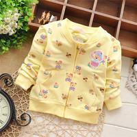 Free shipping 2015 Spring New baby girls cartoon bear cardigan jacket,kid outwear,children cardigan#Z165