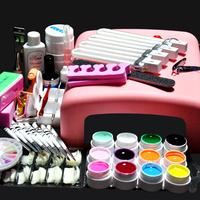Professional  36W UV GEL Pink Lamp & 12 Color UV Gel Nail Art Tool Kits Sets