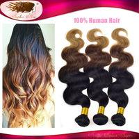 Top Qualiti 6A Ombre Brazilian Hair Virgin Brazilian Body Wave Ombre Hair Extensions 3 Tone Ombre Weave Hair Weft Mixed Bundles