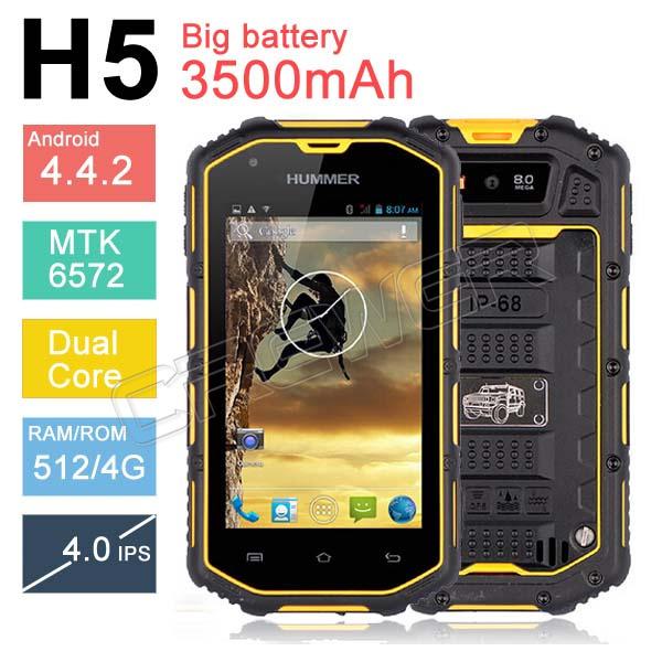 Мобильный телефон Hummer H5 3G 4.0 IP68 3500Mah GPS WCDMA мобильный телефон waterproof phone ip67 hummer h5 ips android 4 2 mtk6572a