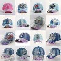 Beauty caps new design popular woman rhinestone star denim baseball cap fashion brand women jean crystal hip hop snapback hats