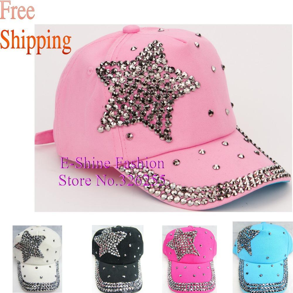 new fashion children baseball cap rhinestone star pink blue black fuchsia color kids boys girls hiphop brand snapback caps hats(China (Mainland))