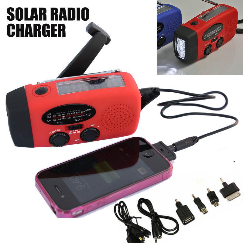 Solar Dynamo Powered Radio Hand Crank AM/FM 3 LED Flashlight Phone Charger Free Shipping(China (Mainland))