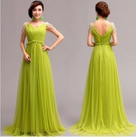 Romantic green chiffon long mermaid Evening Dresses 2014 floor-length v-neck belt party dress 272