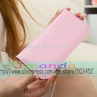 100pcs/lot Solid Color Ladies PU Leather Wallet Long Design Zipper Fashion 2 Cover Purse