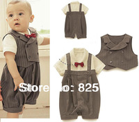 2PCS (3-21M) Baby Boys Wedding Special Occasion Christening Tuxedo Stripe Suit Outfit + Vest Short sleeve romper Stripes Formal