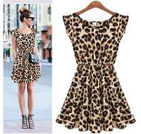 free shipping Women Casual Leopard Print Dress Microfiber Summer Dresses wholesale M L XL WC178