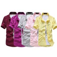 2014 New Arrival Men Short Sleeve Shirt Fashion Men Style Turn-Down Collor Dress Shirt plus size M-XXXL Freeshipping MCS068