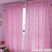 Fashion curtain quality finished sheer curtain double faced flock curtains free shipping customized