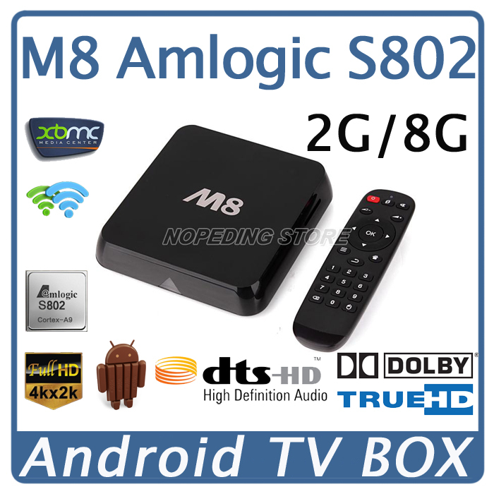 M8 Amlogic S802 Quad Core Android TV Box 2G/8G Mali450 GPU 4K HDMI XBMC Bluetooth 2.4G/5G Dual WiFi DOLBY TrueHD DTS HD Mini PC(China (Mainland))