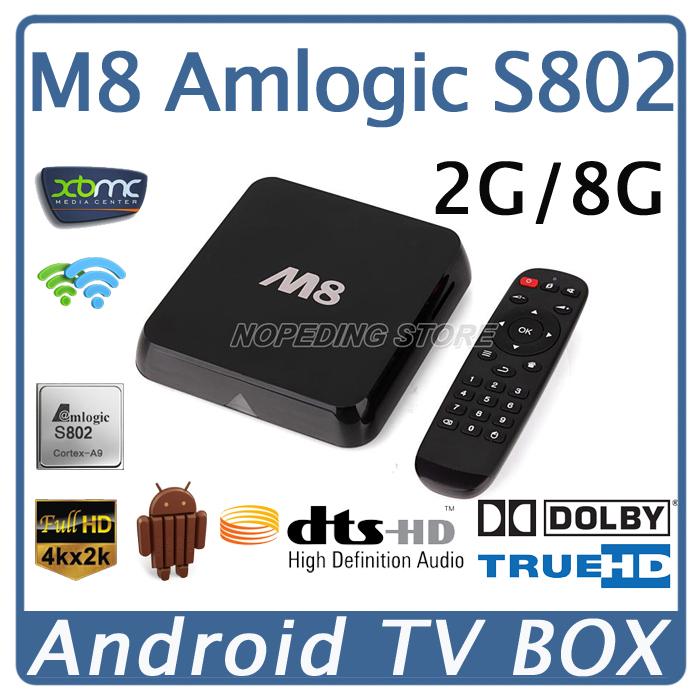 M8 Smart Android TV Box Quad Core Amlogic S802 8G Mali450 GPU 4K HDMI XBMC Bluetooth 2.4G/5G Dual WiFi DOLBY HD DTS HD Mini PC(China (Mainland))