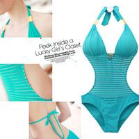 2014 Women Bandage Pin Up One Piece Swimwear Push Up Transparent Bathing Suit Swimsuit Sexy Beach Swim Suits High Waist Vintage