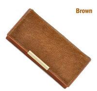 2014 Hot sale  genuine leather women wallet horsehair long purse cowhide Black Brown  Leopard wallet Women purse free shipping