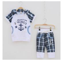 Free shipping Baby boys set  summer cotton children clothes  Kids  White t shirt+ Harem pants 2pcs boys suit  ADTZ008(China (Mainland))