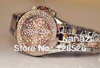 Women Rhinestone Watches 2014  Ladies Dress Watches Diamond Crystal Women's Luxury Watches Female Quartz Watch Gold Pink