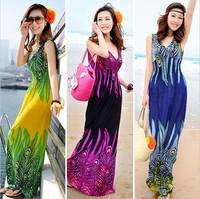 2014 Sell one like this Deep V Collar Peacock Bohemia Summer Long Beach Dress Maxi Dress Hotsale New wholesale