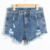 Shipping Rushed Bleached Spring 2014 New Brand Fashion Casual Ripped Hole Washed High Waist Cotton Women Denim Shorts Jeans 952