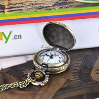 Promotion!!!3PCS/LOT Poker Pattern Vintage Style Bronze Steampunk Quartz Necklace Pendant Chain Clock Pocket Watch #3 19336