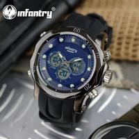 INFANTRY BLUE Men's Chronograph Quartz Wrist Watch Luminous Alarm Black Rubber New Fashion Sport Army Stopwatch