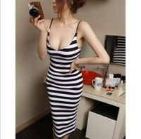 Spaghetti strap stripe slim waist slim hip sexy  sheath dress